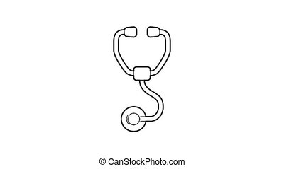Stethoscope icon animation best outline object on white background