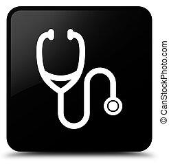 Stethoscope icon black square button