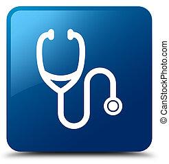 Stethoscope icon blue square button