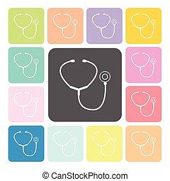 Stethoscope Icon color set vector illustration.