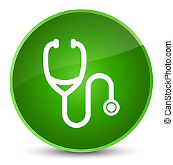 Stethoscope icon elegant green round button