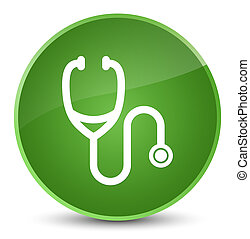 Stethoscope icon elegant soft green round button