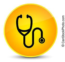 Stethoscope icon elegant yellow round button