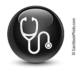 Stethoscope icon glassy black round button