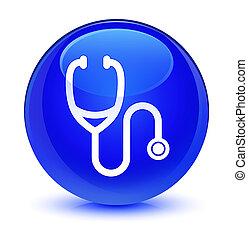 Stethoscope icon glassy blue round button