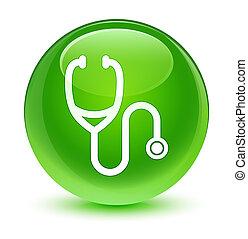 Stethoscope icon glassy green round button