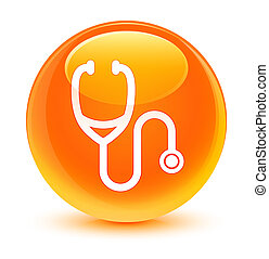 Stethoscope icon glassy orange round button