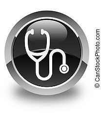Stethoscope icon glossy black round button
