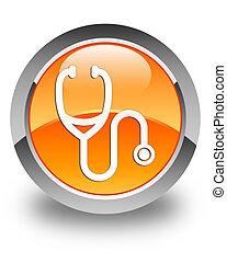 Stethoscope icon glossy orange round button