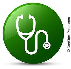 Stethoscope icon green round button