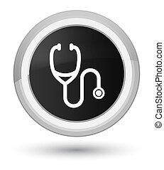 Stethoscope icon prime black round button