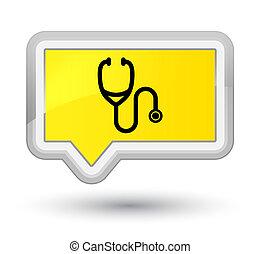 Stethoscope icon prime yellow banner button