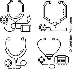 Stethoscope icon set, outline style