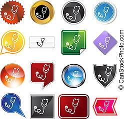 Stethoscope Icon Set - Stethoscope icon set isolated on a...