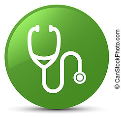 Stethoscope icon soft green round button