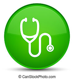 Stethoscope icon special green round button