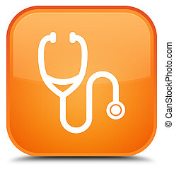 Stethoscope icon special orange square button
