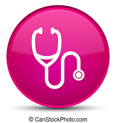 Stethoscope icon special pink round button