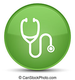 Stethoscope icon special soft green round button