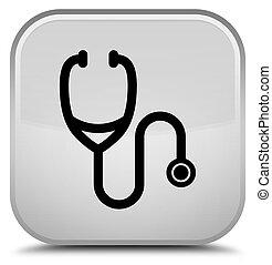 Stethoscope icon special white square button