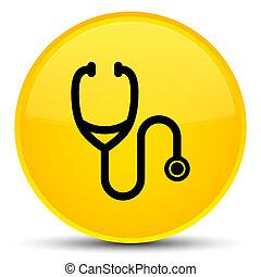 Stethoscope icon special yellow round button