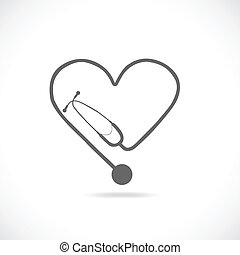 Stethoscope - Illustration of a stethoscope silhouette ...