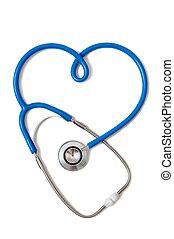 stethoscope, in, de, vorm, van, hart, meldingsbord