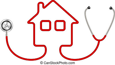 Stethoscope in shape of house on white background