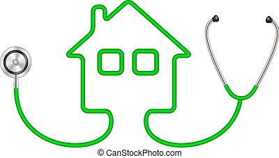 Stethoscope in shape of house