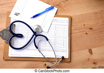 stethoscope in the shape of a heart on the table. Concept 3D image