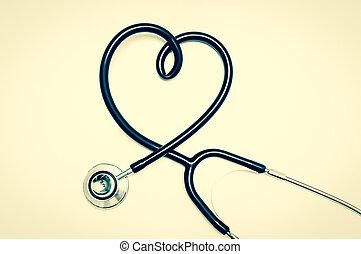 stethoscope, in vorm, van, hart, vrijstaand, op wit, achtergrond
