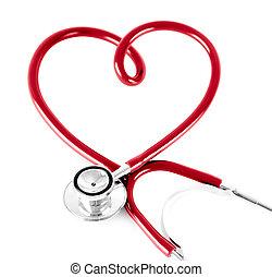 stethoscope, in vorm, van, hart, vrijstaand, op wit
