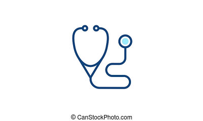 Stethoscope line icon. Medical diagnostic pictogram. ...