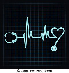 Stethoscope make a heartbeat stock vector