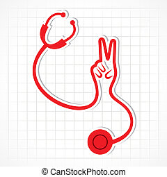 Stethoscope make victory hand