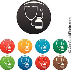 Stethoscope, medical bottle icons set color