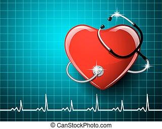 Stethoscope medical equipment, heart shape on the monitor screen background. Vector illustration.