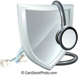 stethoscope, medisch, schild, gezondheidszorg, concept