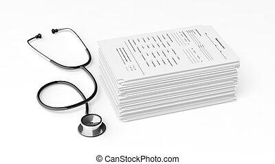 stethoscope, met, een, stapel, van, medisch, patiënt, vormen, op wit