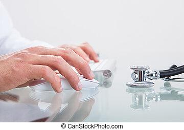 Stethoscope on a doctors desk