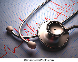 Stethoscope on a table with a heart graphic. Clipping path...