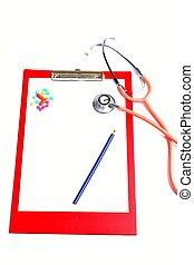stethoscope on checklist medication examination list
