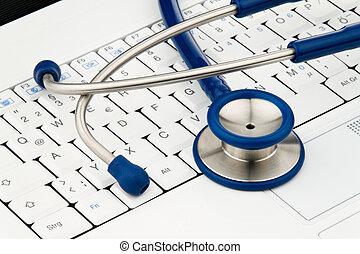 Stethoscope on Computer Keyboard - Stethoscope on laptop...