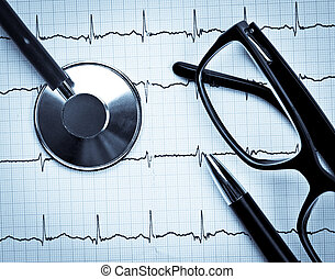 Stethoscope on EKG