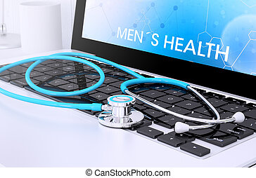 stethoscope on laptop keyboard with screen showing mens health