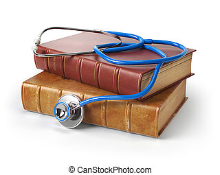 Stethoscope on medical books isolated on white, Medicine and medical education concept.