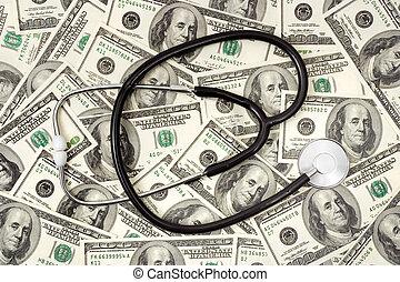 Stethoscope on money background