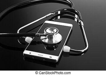 Stethoscope on the smart phone