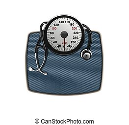 stethoscope on weighing scales