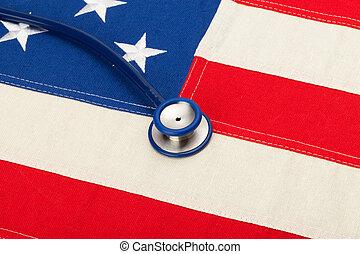 Stethoscope over US flag - heath care concept